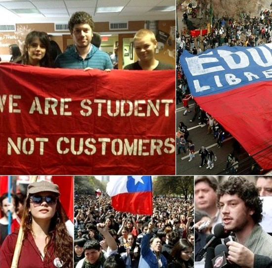Share International June 2015 images, Chile students demand education reform.