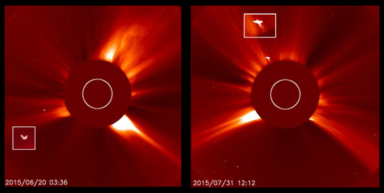 NASA's SOHO LASCO C2 camera on 20 June 2015 at 3.36, and 31 July 2015 at 12.12: Benjamin Creme's Master confirms they were two gigantic Devas near the sun.