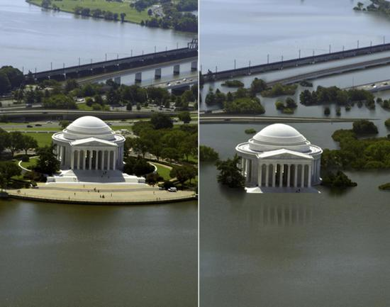 The Jefferson Monument, Washington, USA. A computer-generated simulation of what will happen if no urgent action is taken to limit carbon emissions. Coastal cities such as New York, London and Shanghai and low-lying areas would become uninhabitable.