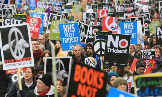 Share International April 2016 images, Tens of thousands took part in the anti-Trident missile protest in London, 27 February 2016.
