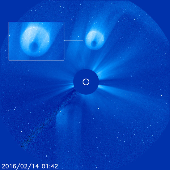 Share International April 2016 images, Benjamin Creme's Master confirms that the object that NASA Lasco photo shows was a gigantic spaceship from Mars.
