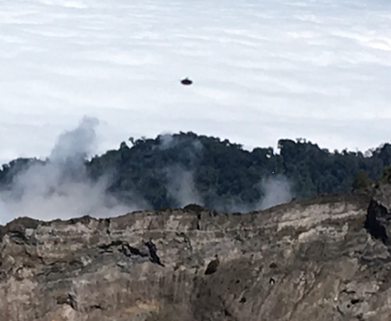 Share International April 2016 images, Benjamin Creme's Master confirms that the object over Irazu Volcano, Costa Rica, February 2016 was a spaceship from Mars.