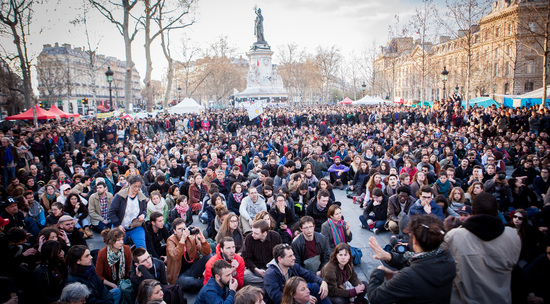 Share International May 2016 images, Nuit Debout – standing up for change in Paris.
