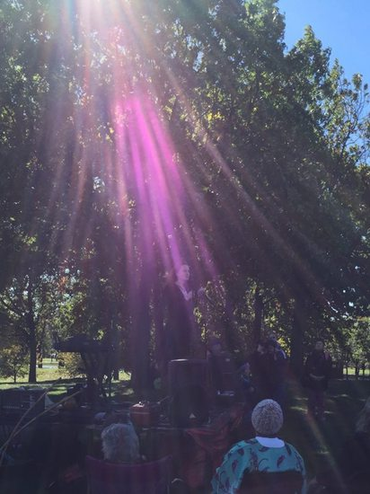 Share International December 2016 images, Elizabeth Kucinich's Light blessing seen by audience in the Constitution Garden, Washington D.C., on 22 October 2016.
