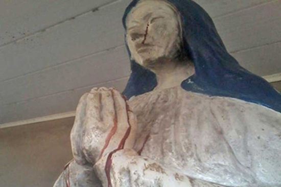 Share International December 2016 images, Blood weeping statue in Bolivia. The church is located in the Manuripi-Heath Amazonian Wildlife National Reserve in the Pando Department. Local priest Jose Luis Mamani said that the church's statue of the Madonna is bleeding from its eyes and hands. According to local parishioners, the statue began bleeding in August 2016.