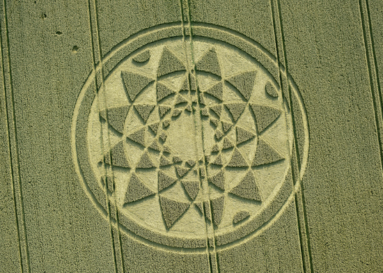 Share International September 2017 images, Crop pattern in wheat field in Bydemill Copse, Cannington, Wiltshire, England, 4 August 2017. photo: Steve Alexander, temporarytemples.co.uk