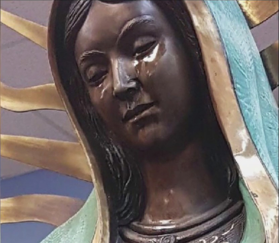 Share International July / August 2018 images, A bronze statue of the Madonna in a Catholic church in Hobbs, New Mexico,     began weeping tears during Sunday Mass on 20 May 2018