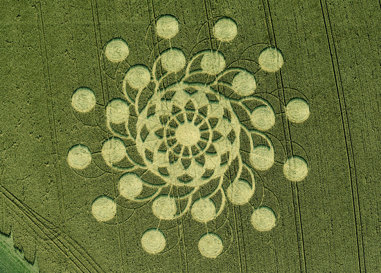 Share International September 2018 images, Dozens of intricate crop patterns have again appeared this year in fields around the world, particularly in the southwest of England