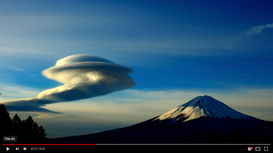 Share International April 2019 images, UFO-shaped cloud estimated to be about three to four miles across (4.5 – 6.5 km) was filmed hovering close to Mount Fuji, Japan, on 10 March 2019